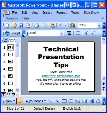 Presentation Tips Ppt - Scott Hanselman