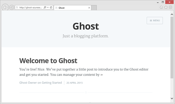 Ghost running on Azure