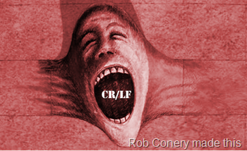 "An image of a screaming face from Pink Floyd's ""The Wall"" album, coming out of a wall as if the wall were elastic, with the characters CR/LF in its mouth"