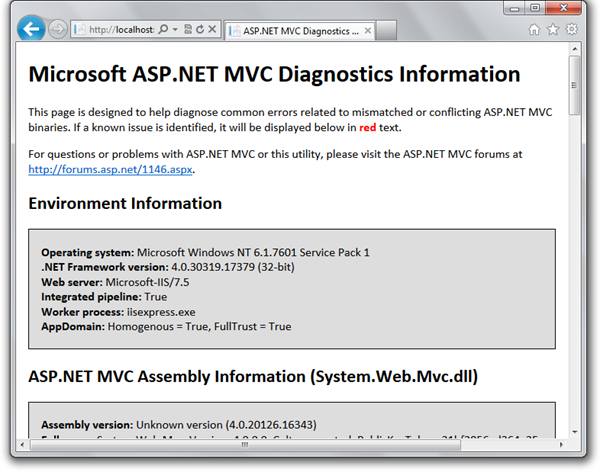 ASP.NET MVC Diagnostics Utility gives lots of useful data