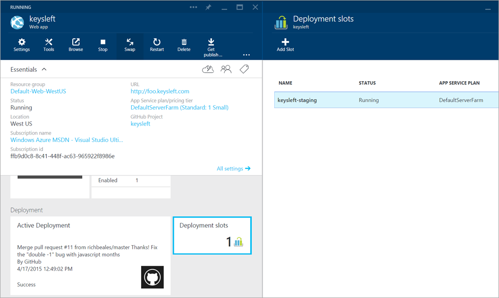 Adding Deployment Slots to an Azure Web App