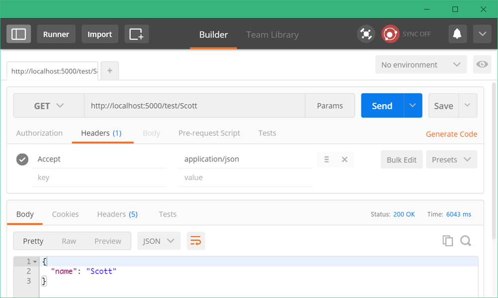 Postman shows a JSON object coming back from a GET request to a Web API