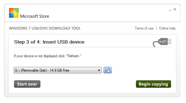 Insert USB device