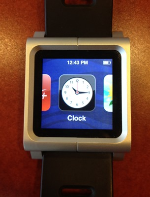 The iPod Nano is a fancier watch with a color touch screen, but no connectivity