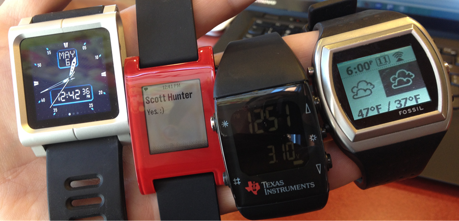 iPod nano, Pebble, TI and SPOT Watch - I had to photoshop the SpotWatch as the battery died long ago