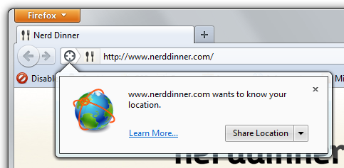 Firefox wants to know where I am