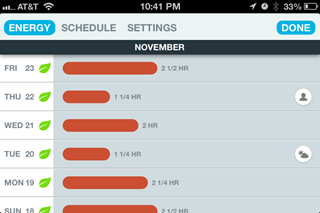 Screenshot of the Nest App showing Energy