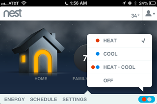 Screenshot of the Nest App showing Heat/Cool