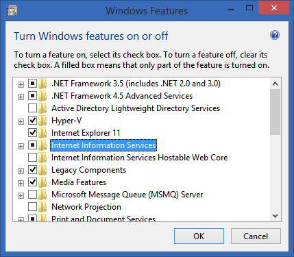 Turn on IIS in Windows Features