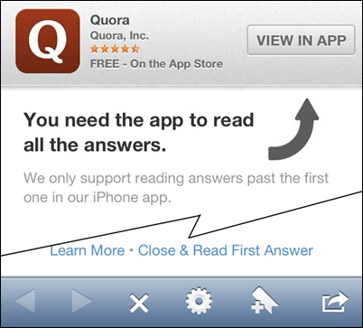 No I don't want your app, Quora