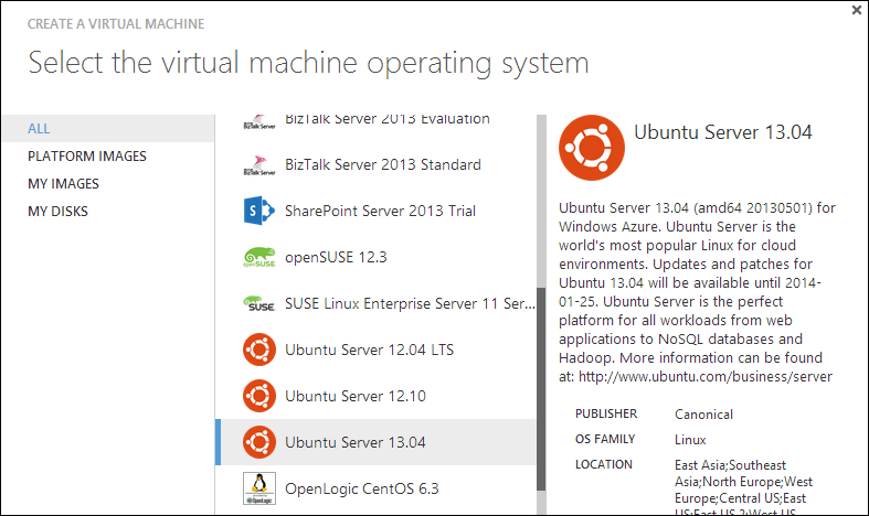 Selecting Ubuntu from the Azure Gallery