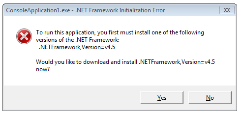 A dialog that pops up when running .NET 4.5 apps on .NET 4 to prompt an update