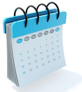 A calendar with a spiral binder