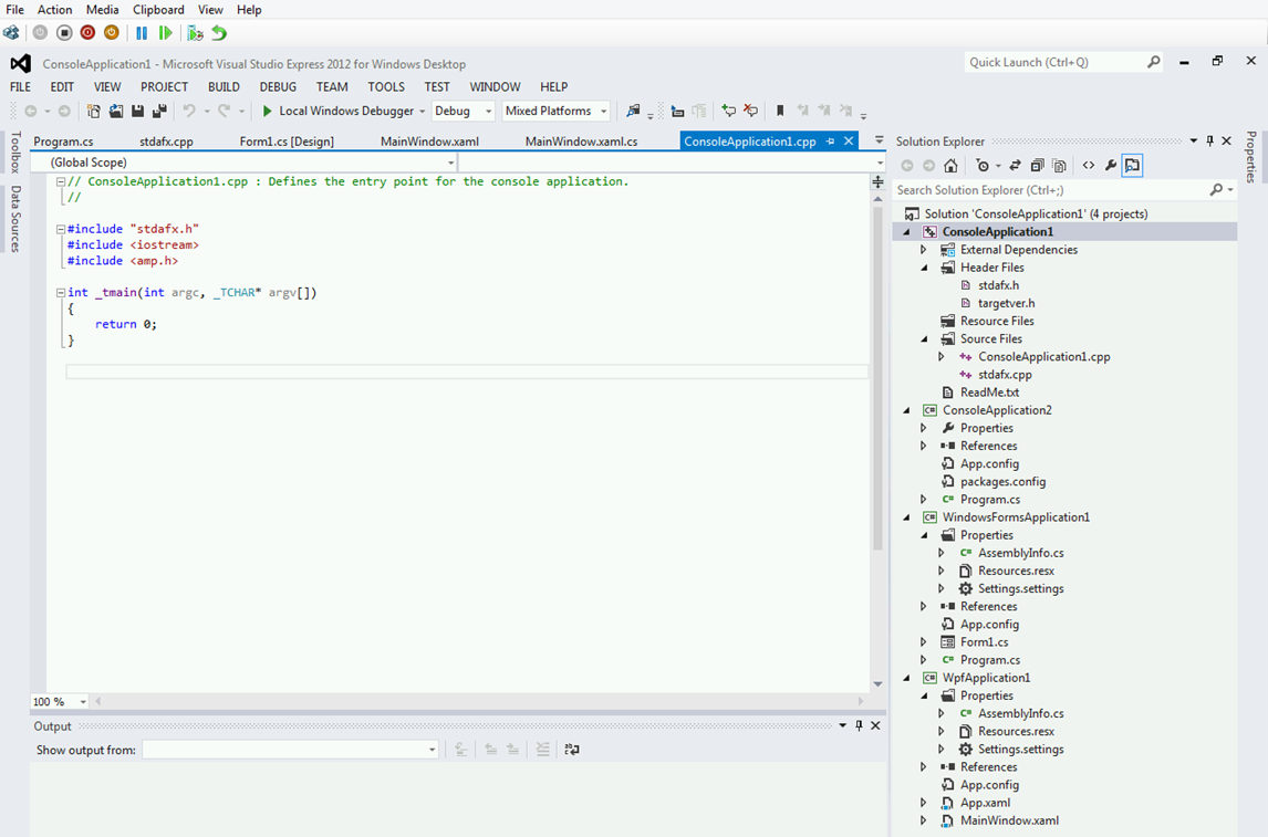 In the screenshot below I've added a C++ Console app, a Window Forms ...