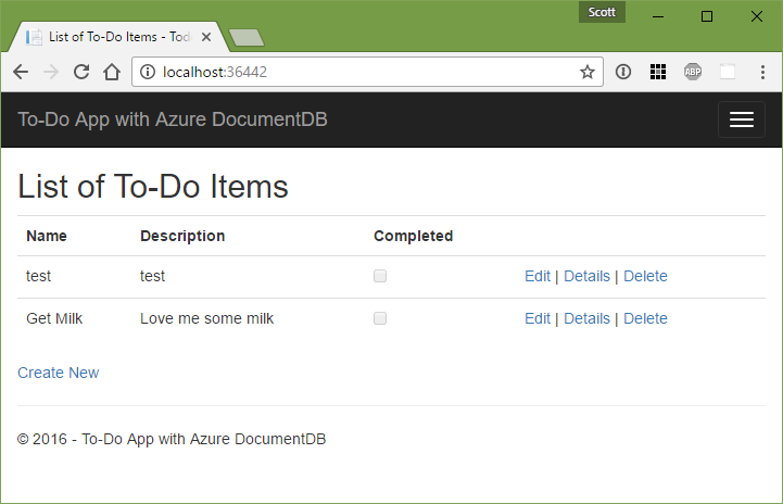 ASP.NET MVC ToDo App using Azure Document DB local emulator