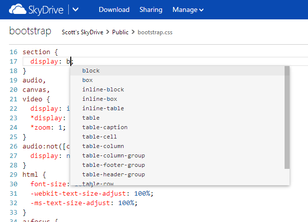 Editable code in SkyDrive