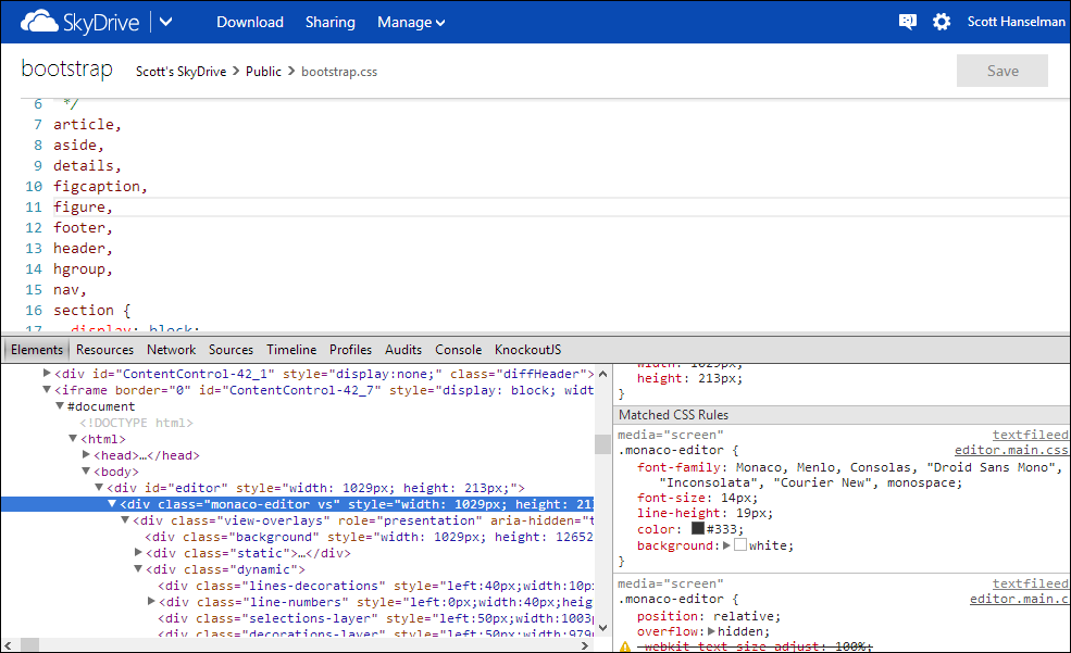 The javaScript editor open in SkyDrive