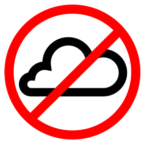 "A cloud with the international ""no"" symbol over it"