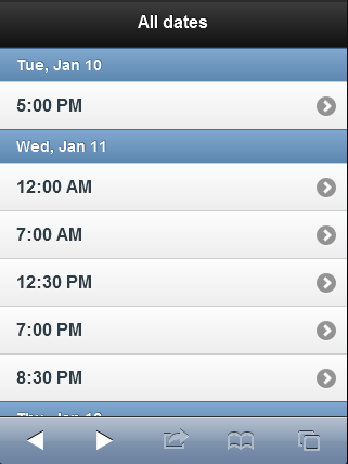 jQuery mobile applied to a ListView of dates