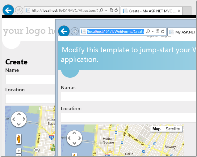 MVC and Web Forms together in one app