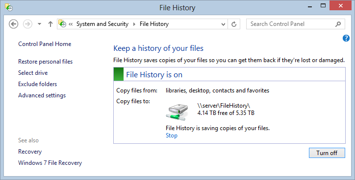 File History on my NAS