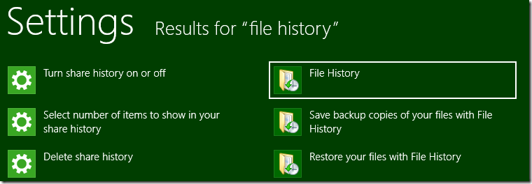 File History in Settings