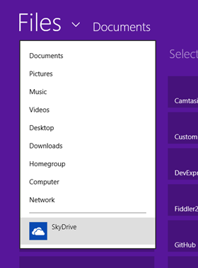SkyDrive integration in Windows 8 RT