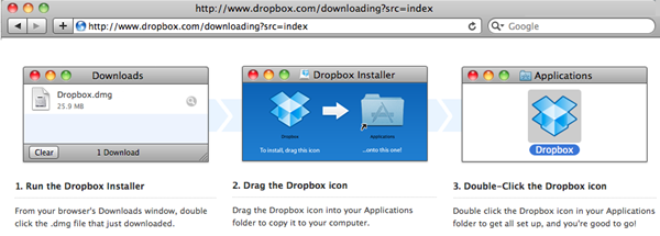 Dropbox - Safari on a Mac