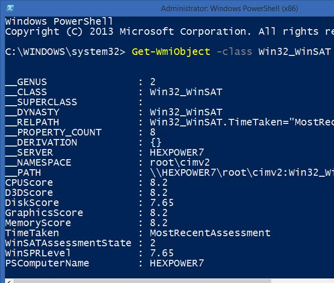Get-WmiObject -class Win32_WinSAT