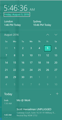 The new Windows 10 Calendar widget is lovely
