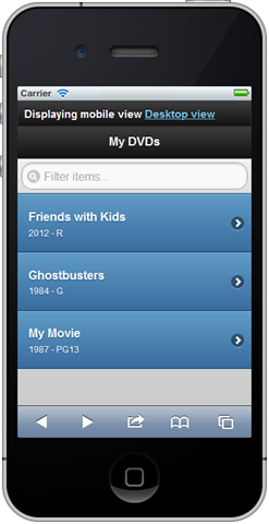 A lovely jQuery Mobile example list of DVDs