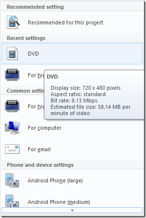 Save as DVD from within Windows Movie Maker