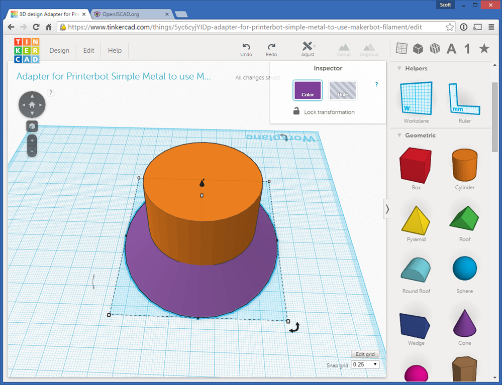Creating exact 3d models for 3d printing with javascript 3d application