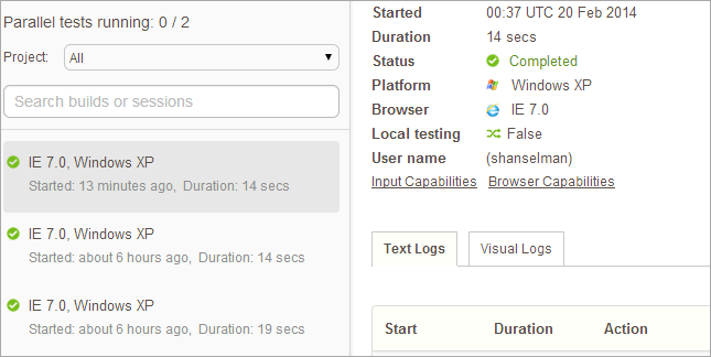 The Web Interface for BrowserStack showing the tests I've run