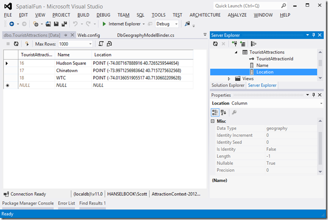 Entity Framework v5 Code First and VS2012 support for SQL Server's geography types