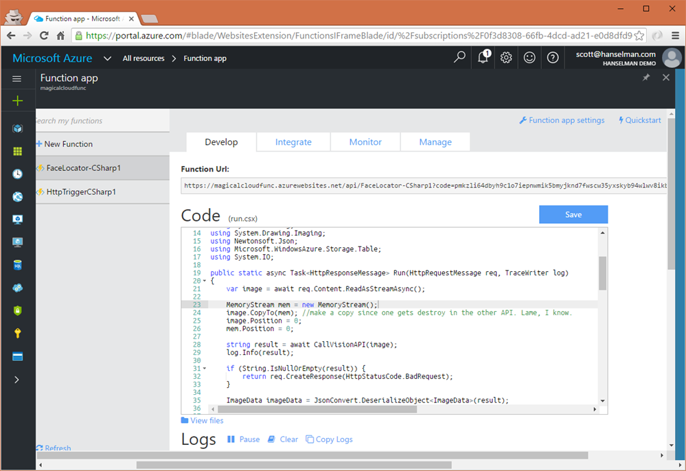 Azure Functions can be done in the browser