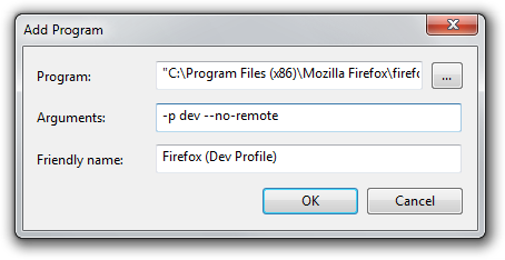 "Adding a Firefox Dev Profile with ""firefox.exe -p dev"""