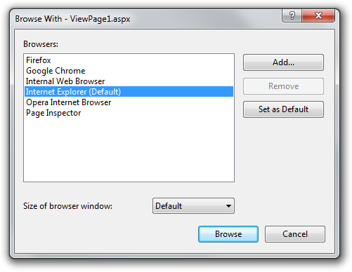 All your browsers listed in the Browse With dialog