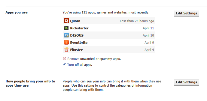 Review the &quot;Apps you use&quot; at Facebook