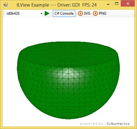 Half a green sphere