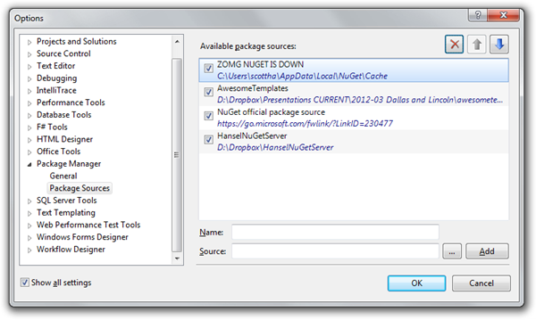 The NuGet Package Source Options dialog