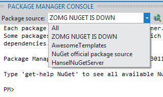 The NuGet Cache selected as an option in the Package Manager Console