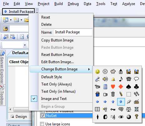 "Creating a new Toolbar with ""NuGet Install"" on it"