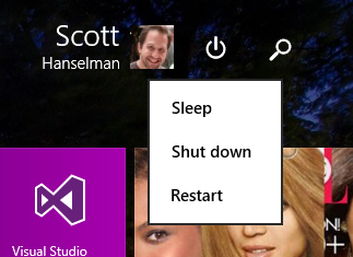 Windows Start Screen has a visible power button