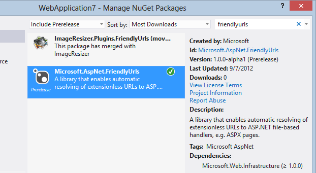 Microsoft.AspNet.FriendlyUrls -pre shown in the UI
