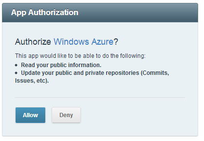 Authorize Windows Azure?