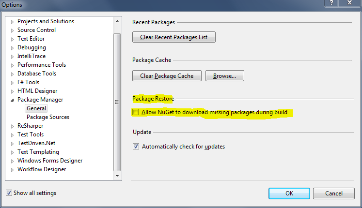 Turn on Package Consent in Package Manager | General