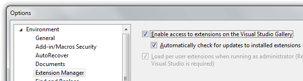 Description: Visual Studio Options - Automatically check for Package Updates