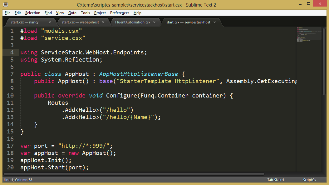 ScriptCS inside of SublimeText2 with the ScriptCS package giving SyntaxHighlighting
