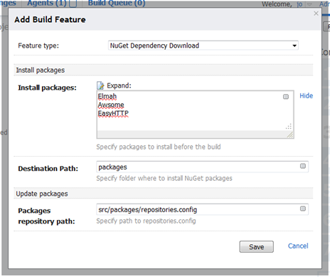 Here's a mockup of a Build Feature where TeamCity downloads specific packages that will be needed by the build.